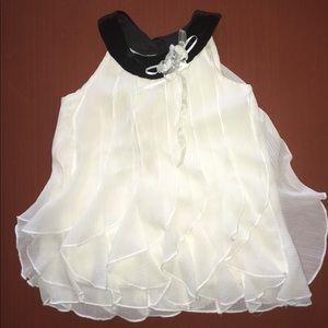 [rare editions] black and cream/ off white blouse